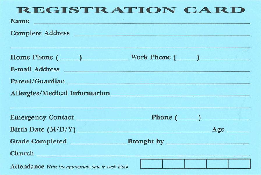 Registration CardsVBS 2020