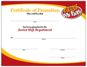 Promotion Certificate to Junior High Department