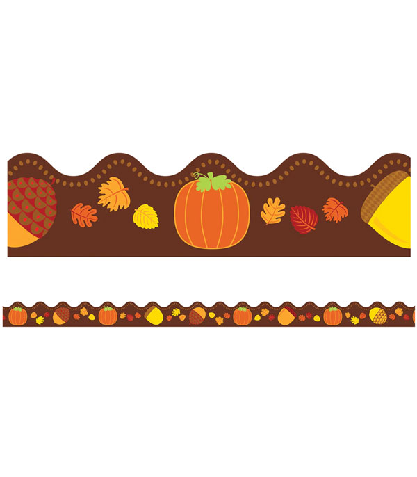 Border - Scalloped Acorns and Pumpkins