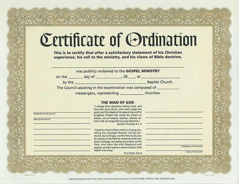 Certificate of Ordination - RB : Regular Baptist Press ...